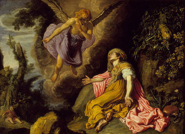 Angel Art Print featuring the painting Hagar And The Angel by Pieter Lastman