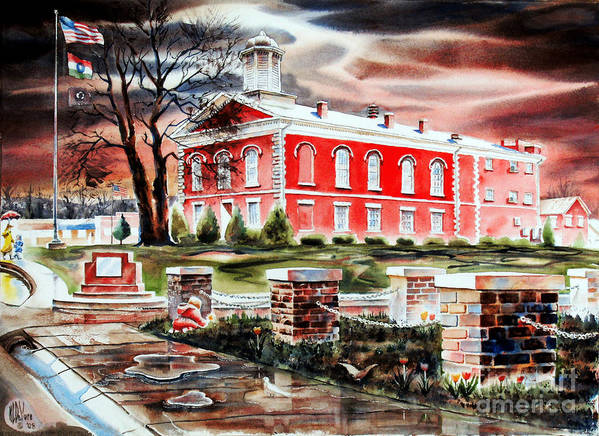 Kip Devore Print featuring the painting Iron County Courthouse II by Kip DeVore