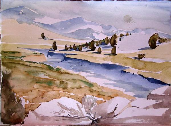 Blue Landscape Tan Brown Trees Mountins High Desert Rocks Nature Art Print featuring the painting Kennedy Meadows Half In Winter by Amy Bernays