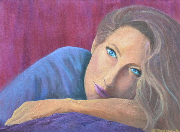 Figure Art Print featuring the painting Looking At You by Sheryl Sutherland
