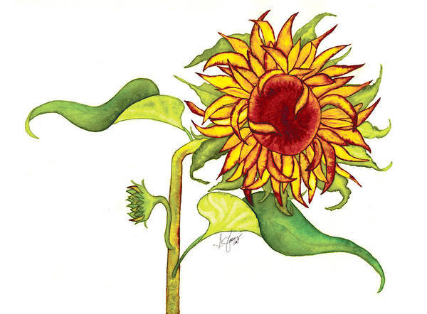 Floral Art Print featuring the painting Mari's Sunflower by Stephanie Jolley