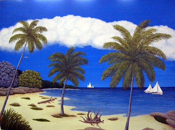 Landscape Art Art Print featuring the painting Palm Bay by Frederic Kohli