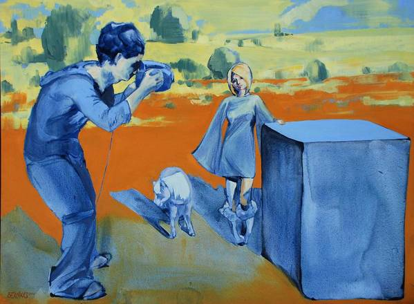 Landscape Female People Yellow Orange Camera Pony Box Blue Art Print featuring the painting Paris And The Pony by Amy Bernays