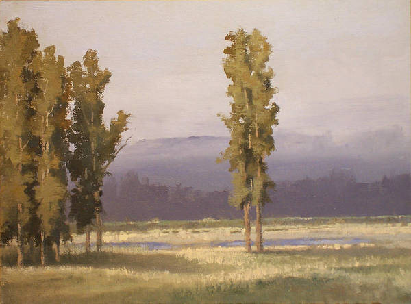 Landscape Art Print featuring the painting Reserve Cottonwoods by Dalas Klein