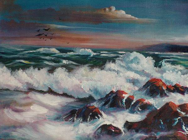 Seascape Art Print featuring the painting Seascape 01 by Sylvia Stone
