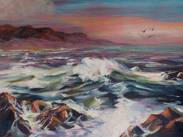 Seascape Art Print featuring the painting Seascape 02 by Sylvia Stone