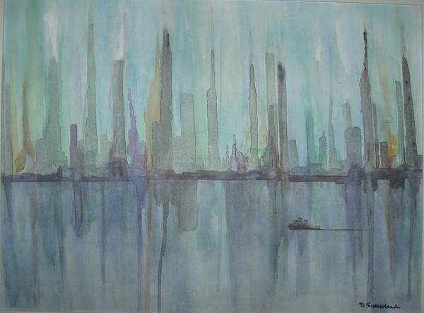 Blue City Skyline Art Print featuring the painting Skyline by Sheryl Sutherland