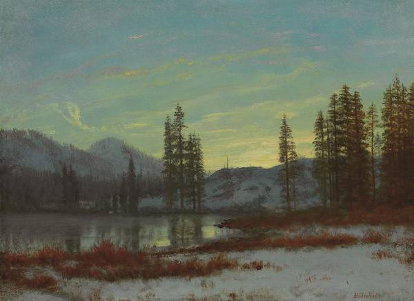 Andscape; Romantic; Romanticist; America; North America; American; North American;landscape; Rural; Countryside; Wilderness; Scenic; Picturesque; Atmospheric; Snow; Winter; Snow-covered; Rockies; Rocky Mountains; Mountain; Mountains; Mountainous; Frontier; Lake; Wooded; Western; Evening; Sunset; Dusk; Twilight; Calm; Peaceful; Tranquil Art Print featuring the painting Snow In The Rockies by Albert Bierstadt
