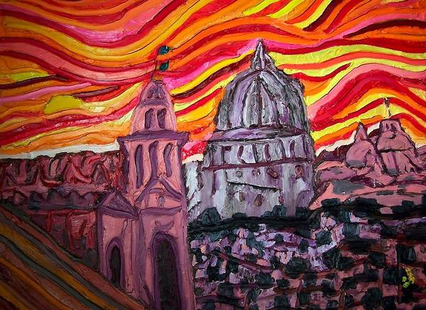 Sienna Italy Art Print featuring the painting Sun At Night Siennas Delight by Ira Stark