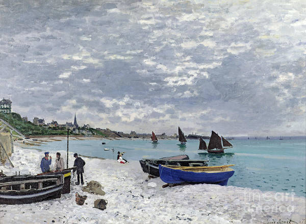 Coastal;french;rowing Boat;sailing;sainte Adresse; Boats Art Print featuring the painting The Beach At Sainte Adresse by Claude Monet