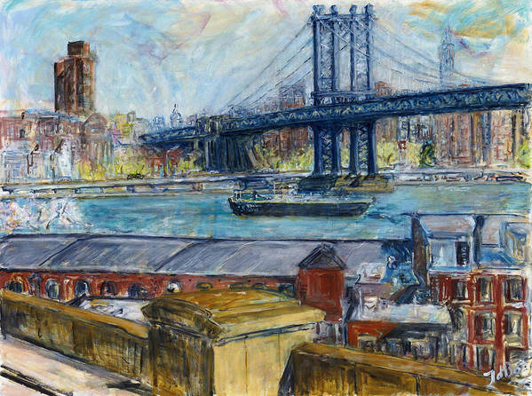New York Manhattan Bridge Water River Boat Warehouses Art Print featuring the painting View From Brooklyn Bridge by Joan De Bot