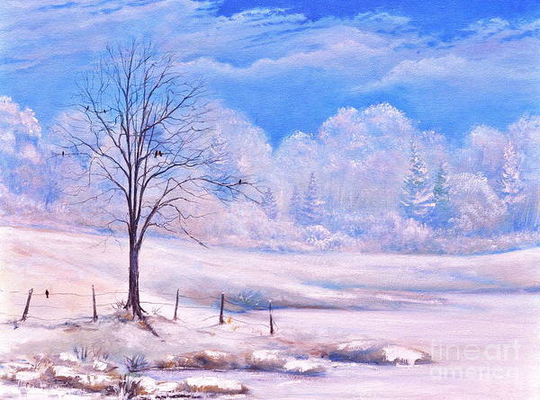 Winter Day Art Print featuring the painting Warm Cold Day by Penny Neimiller