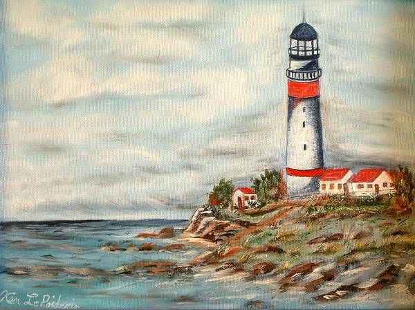 Lighthouse Ocean Houses Rocks Art Print featuring the painting Lighthouse 2 by Kenneth LePoidevin