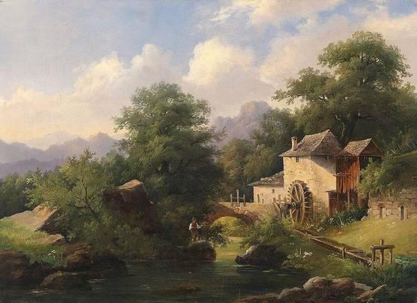 Anton Bayer (1805-1884) Mill With Angler Art Print featuring the painting Mill With Angler by Anton Bayer