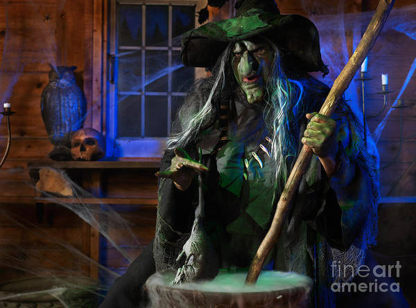 Witch Art Print featuring the photograph Scary Old Witch With A Cauldron by Oleksiy Maksymenko