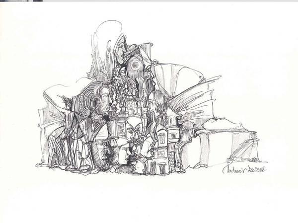 Surreal Art Print featuring the drawing 2009-8 by Padamvir Singh