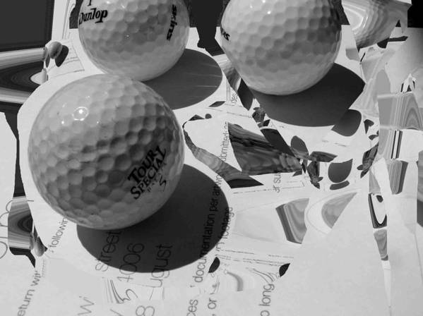 Golf Art Print featuring the photograph 3 Golf Balls Enter Art Competition by Evguenia Men