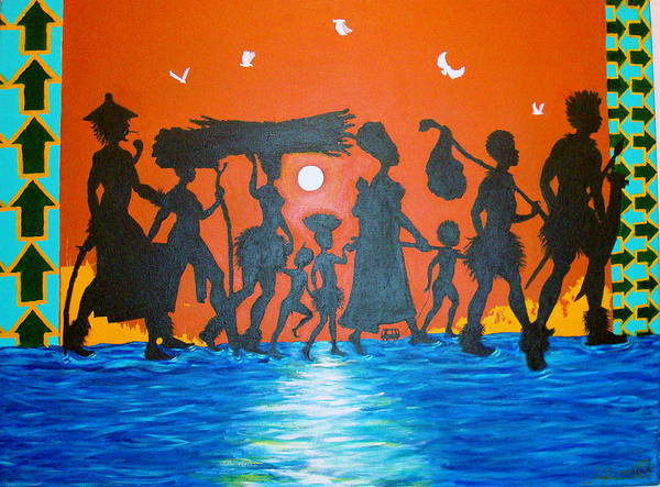 Malik Seneferu Art Print featuring the painting Uhuru Series by Malik Seneferu