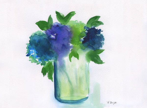 4 Hydrangeas Art Print featuring the painting 4 Hydrangeas by Frank Bright