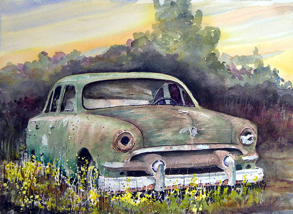 Car Art Print featuring the painting 51 Ford by Sam Sidders