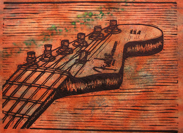 Fender Art Print featuring the drawing Fender Strat by William Cauthern