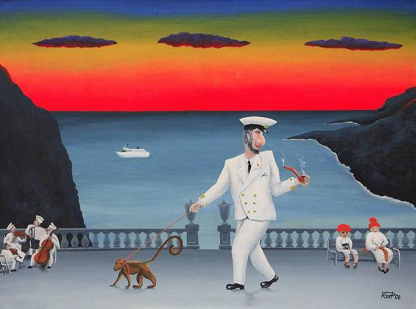 Landscape Captain Monkey Orchestra Jazz Childhood South Tropical Island Cruise Ship Wacation Resort Art Print featuring the painting A Captain And His Monkey by Poul Costinsky