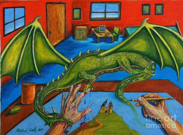 Dragon Fantasy Surreal Art Print featuring the drawing A Drawing With Bite by Michael Cook