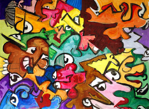 Eye Art Print featuring the painting A Face In The Crowd by Jame Hayes