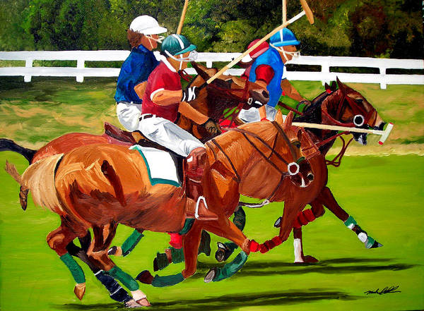 Polo Art Print featuring the painting A Game Of Polo by Michael Lee