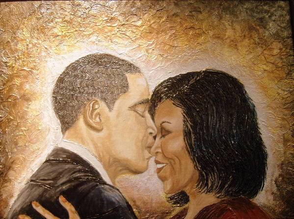 Barack And Michelle Obama Art Print featuring the painting A Kiss For A Queen by Keenya Woods