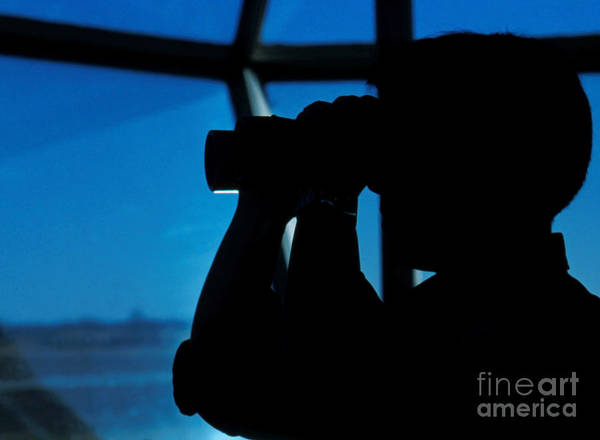 Air Station Art Print featuring the photograph A Navy Air Traffic Controller Maintains by Michael Wood