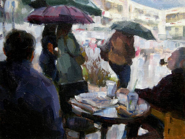 Urban Art Print featuring the painting A Rainy Day At Starbucks by Merle Keller
