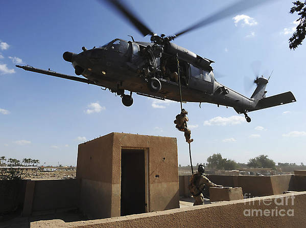 Pararescue Art Print featuring the photograph A U.s. Air Force Pararescuemen Fast by Stocktrek Images