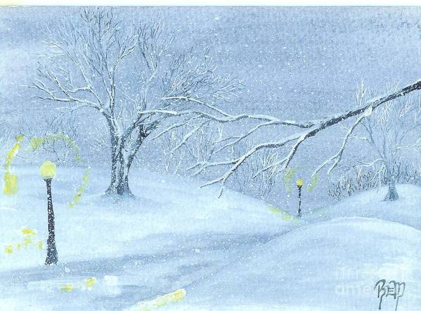 Watercolor Art Print featuring the painting A Winter Walk... by Robert Meszaros