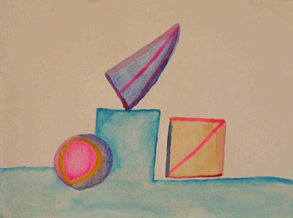 Abstract Art Print featuring the painting Abstract Geometry by Natalee Parochka