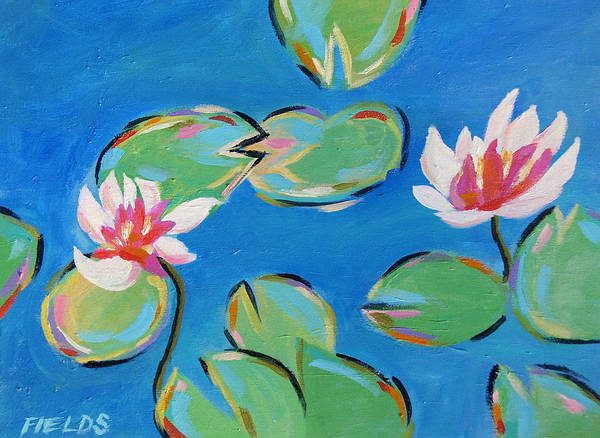 Lily Pads Art Print featuring the painting Abstract Lily Pads by Karen Fields