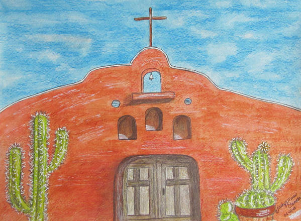 Adobe Art Print featuring the painting Adobe Church And Cactus by Kathy Marrs Chandler