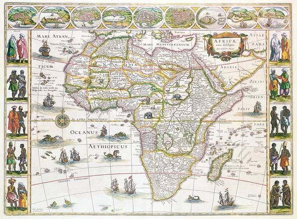 Africa Print featuring the drawing Africa Nova Map by Willem Blaeu