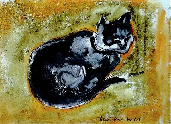 Cat Art Print featuring the drawing Afternoon Cat by Hae Kim