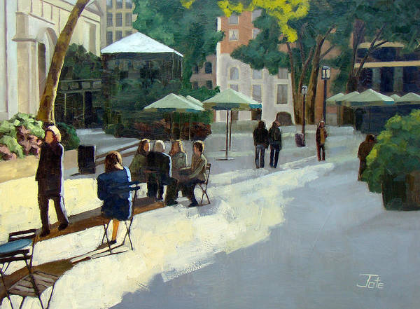 Cityscape Art Print featuring the painting Afternoon In Bryant Park by Tate Hamilton