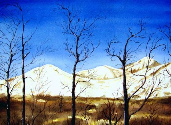 Landscape Art Print featuring the painting Alaska Blue Sky Day by Brenda Owen