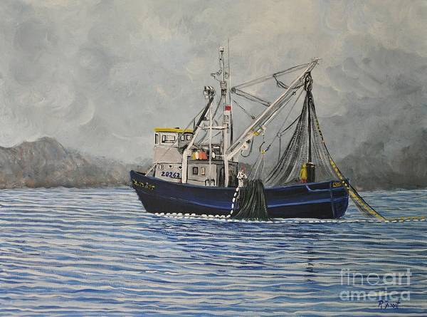 Boats Art Print featuring the painting Alaskan Fishing by Reb Frost
