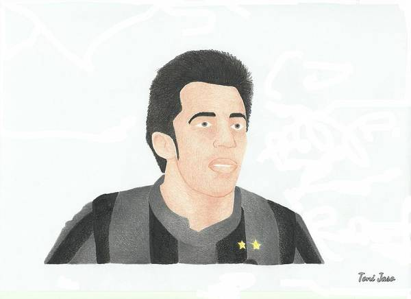 Alessandro Del Piero Print featuring the drawing Alessandro Del Piero by Toni Jaso