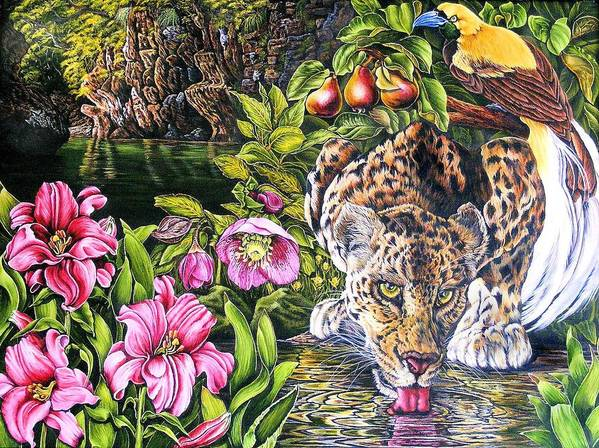 Leoapord Art Print featuring the painting Alidas Garden by Donald Dean