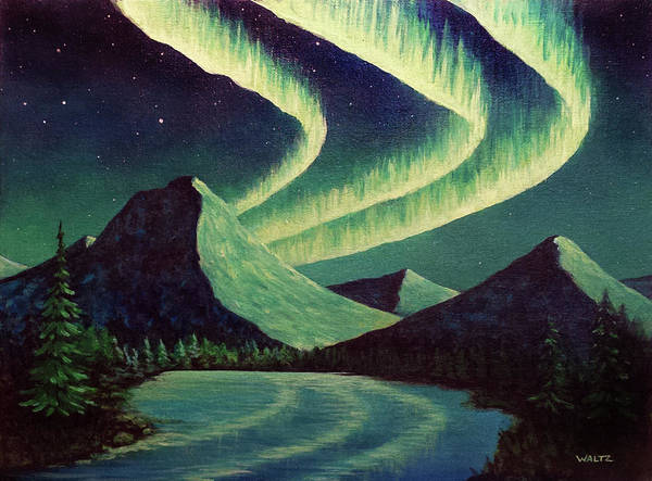 Aurora Borealis Northern Lights Lake Reflection Mountains Night Sky Art Print featuring the painting Almost Alliteration by Beth Waltz