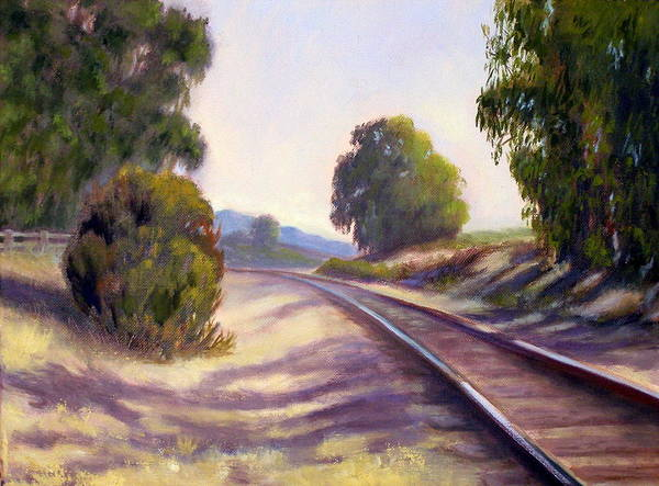 Train Tracks Art Print featuring the painting Along The Rails by Dorothy Nalls