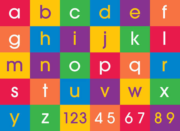 Alphabet And Numbers Canvas Print In Bright Fun Colors. Contemporary Design For Kids And Children's Bedroom Art Print featuring the digital art Alphabet Colors by Michael Tompsett