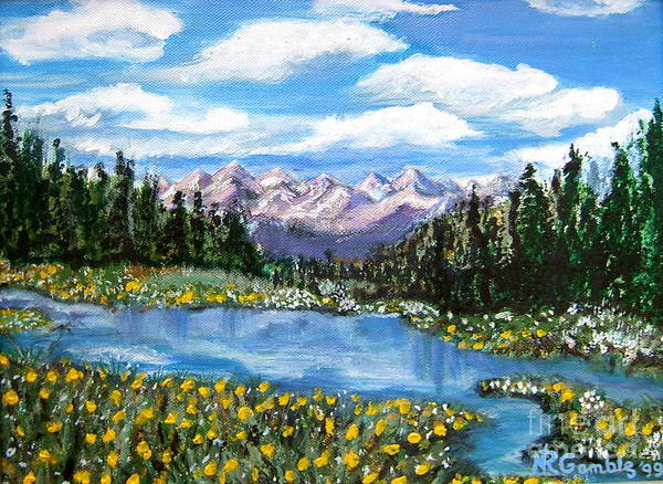 Landscape Art Print featuring the painting Alpine Lake Colorado Usa by Nancy Rucker