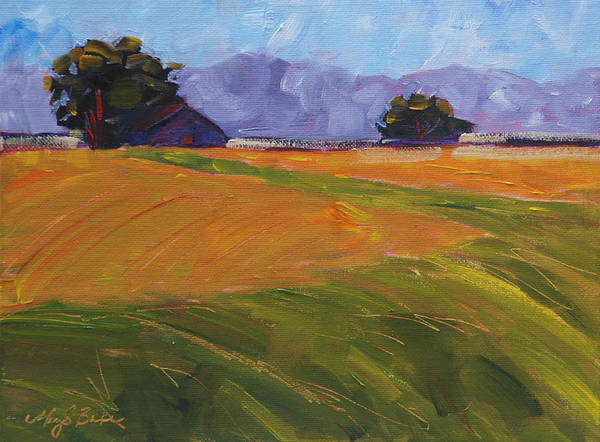Agriculture Art Print featuring the painting Amber Waves by Mary Benke