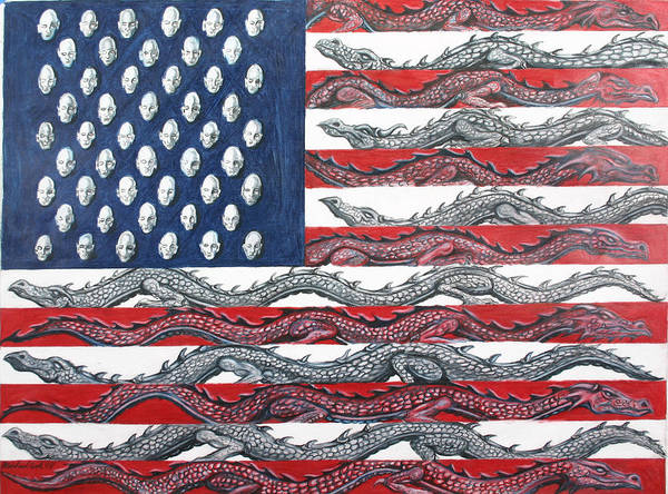 Dragons Fantasy American Flag Art Print featuring the drawing American Conflict by Michael Cook
